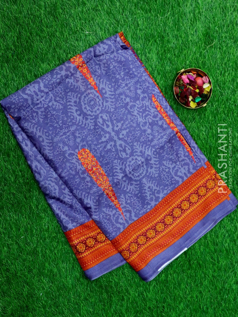 Semi Tussar Saree bluish grey and orange with embroided pattern