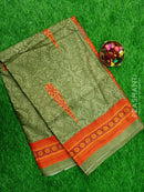 Semi Tussar Saree light green and orange with embroided pattern
