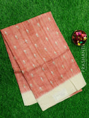 Semi Tussar Saree light pink and beige with embroided pattern