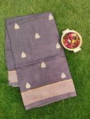 Semi Tussar Saree grey and beige with embroided pattern