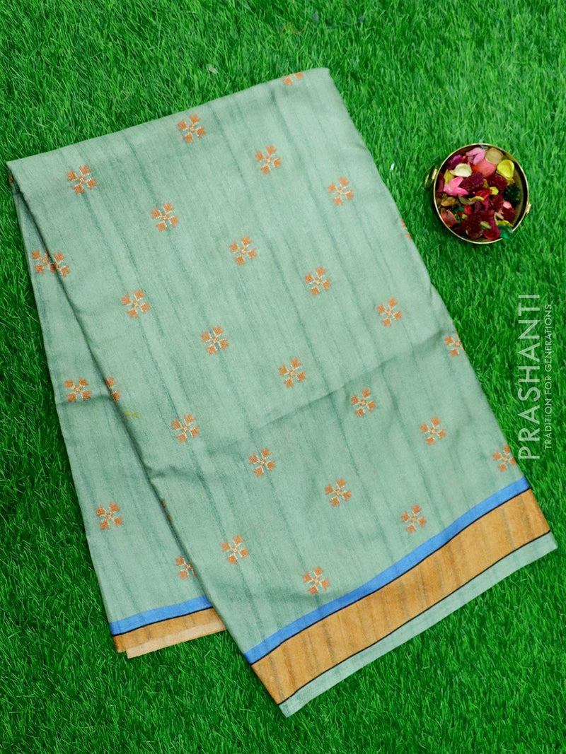 Semi Tussar Saree pastel green and peach with embroided pattern