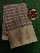 Semi Tussar Saree light purple and beige with embroided pattern
