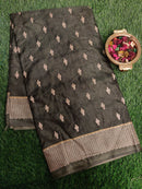 Semi Tussar Saree olive green and beige with embroided pattern