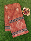 Semi Jute Tassar Saree brown with digital and embroided pattern