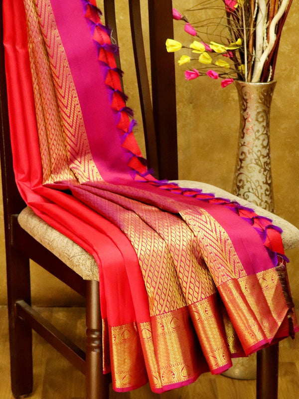 Pure Kanjivaram Silk Saree tomato red and magenta pink with plain body and rich zari border