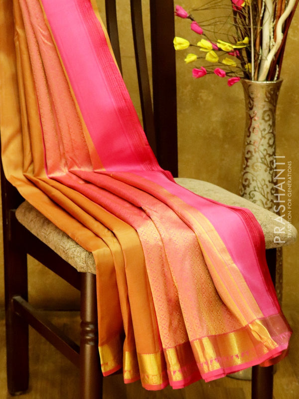 Pure Kanjivaram Silk Saree dark beige and pink with plain body and rich zari border