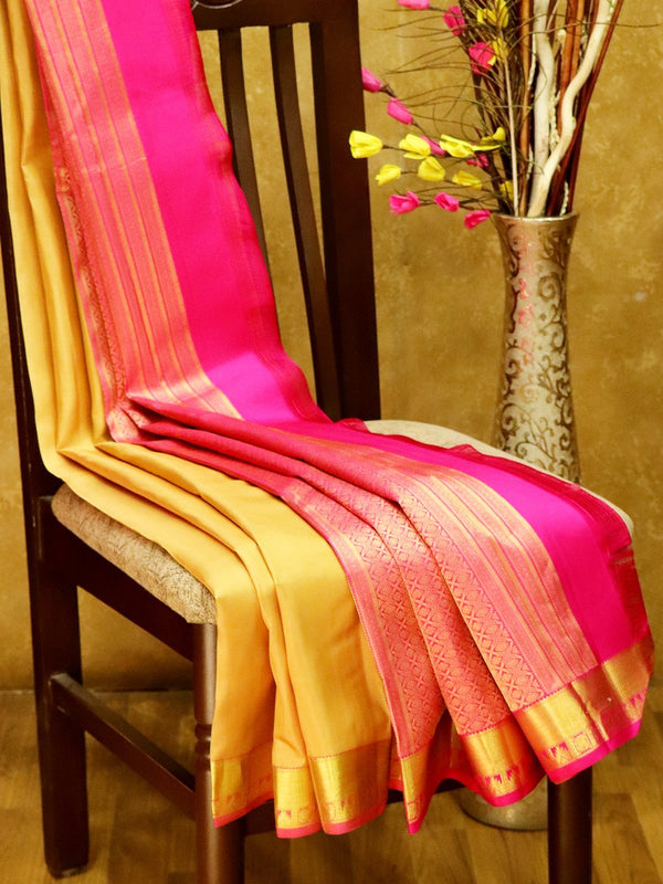 Pure Kanjivaram Silk Saree beige and pink with plain body and rich zari border