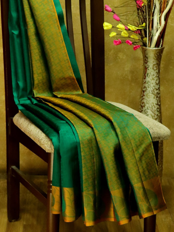 Pure Kanjivaram Silk Saree green and chickoo with self emboss and thread woven border