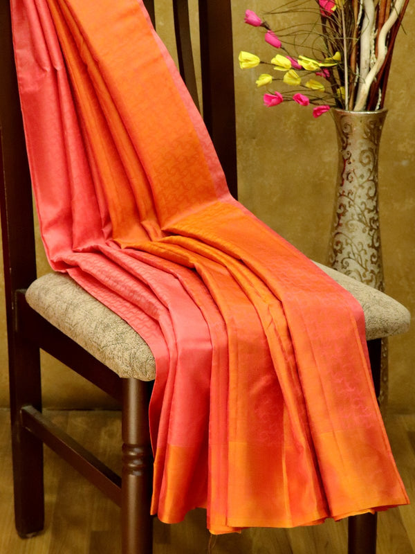 Pure Kanjivaram Silk Saree pink and rust orange with self emboss and thread woven border