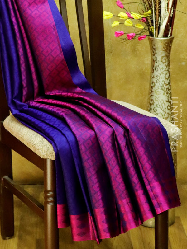 Pure Kanjivaram Silk Saree navy blue and purple with self emboss and thread woven border