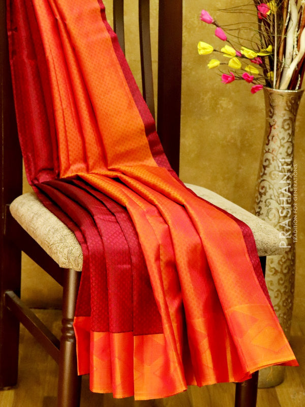 Pure Kanjivaram Silk Saree maroon and rust with self emboss and thread woven border