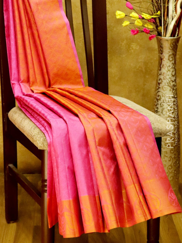 Pure Kanjivaram Silk Saree onion pink and rust orange with self emboss and thread woven border
