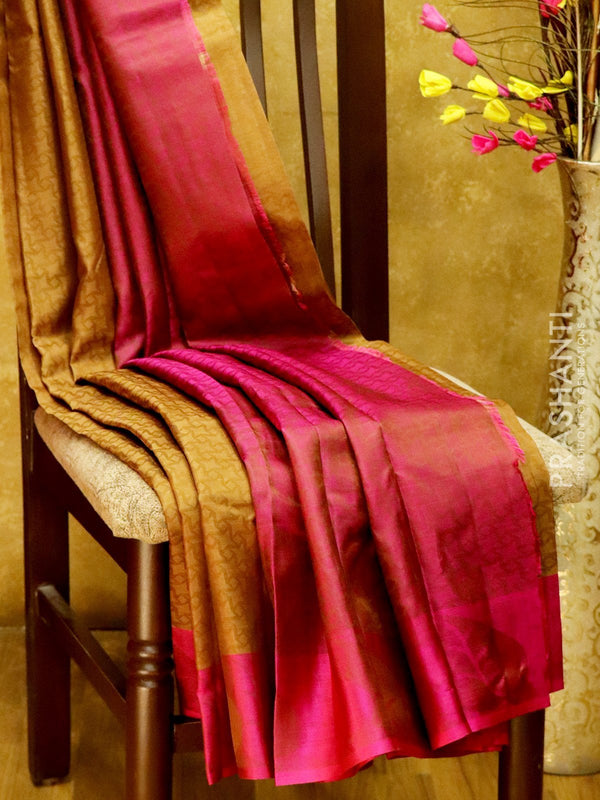 Pure Kanjivaram Silk Saree chiku and pink with self emboss and thread woven border