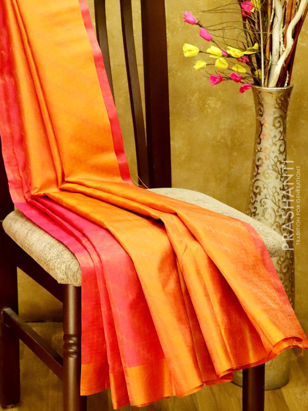 Pure Kanjivaram Silk Saree dual shade of pink and rust with self emboss and thread woven border