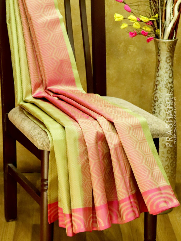 Pure Kanjivaram Silk Saree pastal green and pink with self emboss and thread woven border