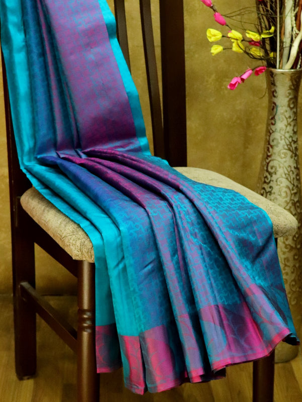 Pure Kanjivaram Silk Saree teal and purple with self emboss and thread woven border