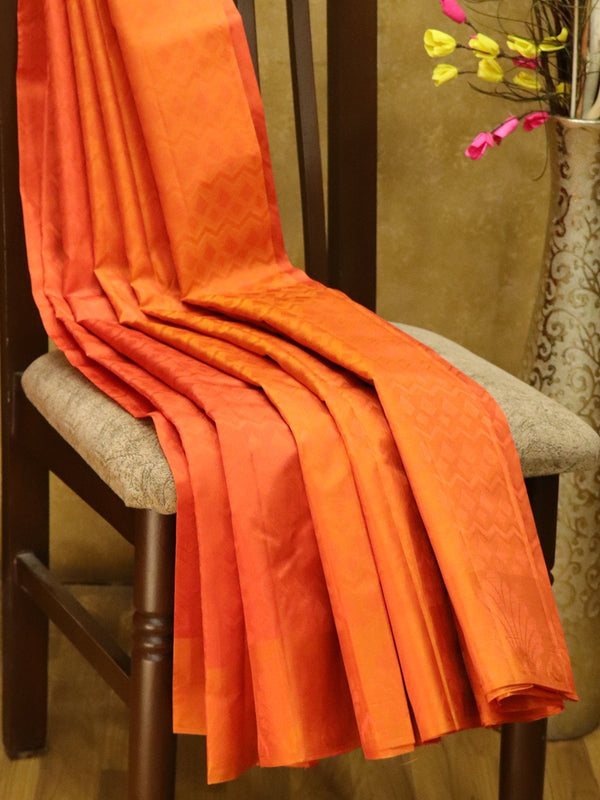 Pure Kanjivaram Silk Saree rust  with self emboss and thread woven border