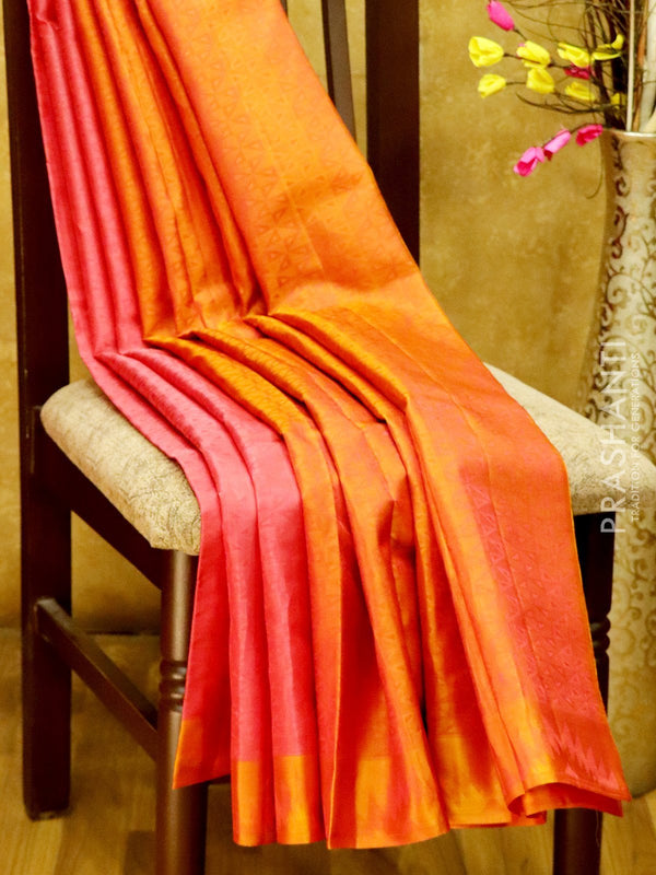Pure Kanjivaram Silk Saree onion pink and rust with self emboss and thread woven border