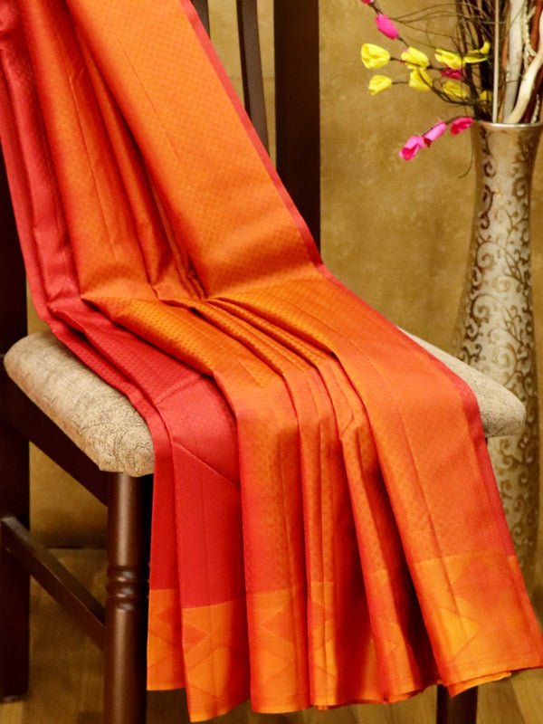 Pure Kanjivaram Silk Saree maroon shade and rust with self emboss and thread woven border