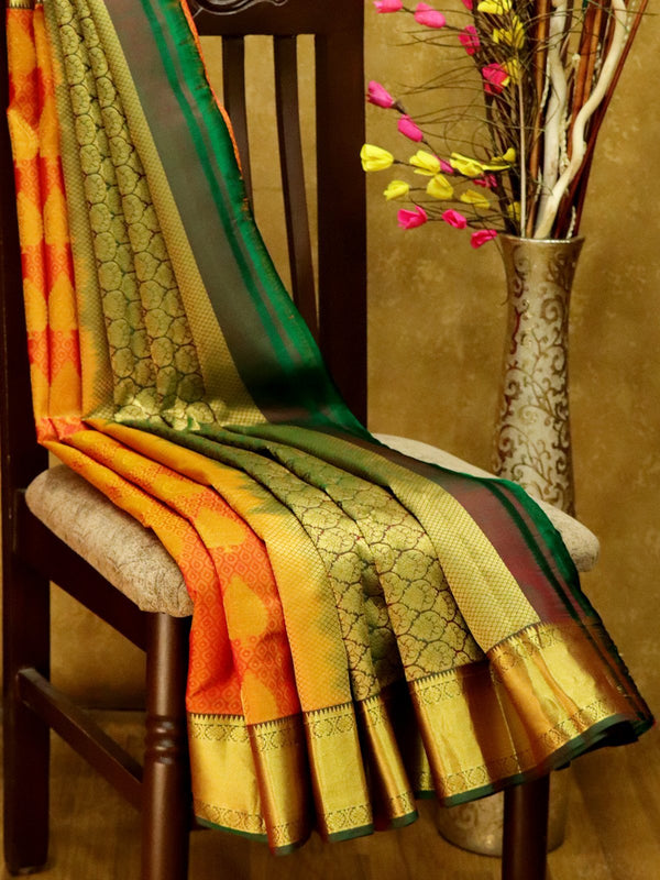 Pure Kanjivaram Silk Saree dual shade of golden maroon and green self emboss with golden zari buttas and rich zari border