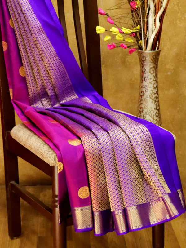 Pure Kanjivaram Silk Saree dual shade of purple and violet with golden zari buttas and rich zari border