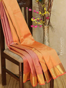 Pure Kanjivaram Silk Saree pastal pink and peach with allover self emboss and zari woven rich border