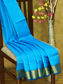 Silk cotton saree cs blue and navy blue with zari border
