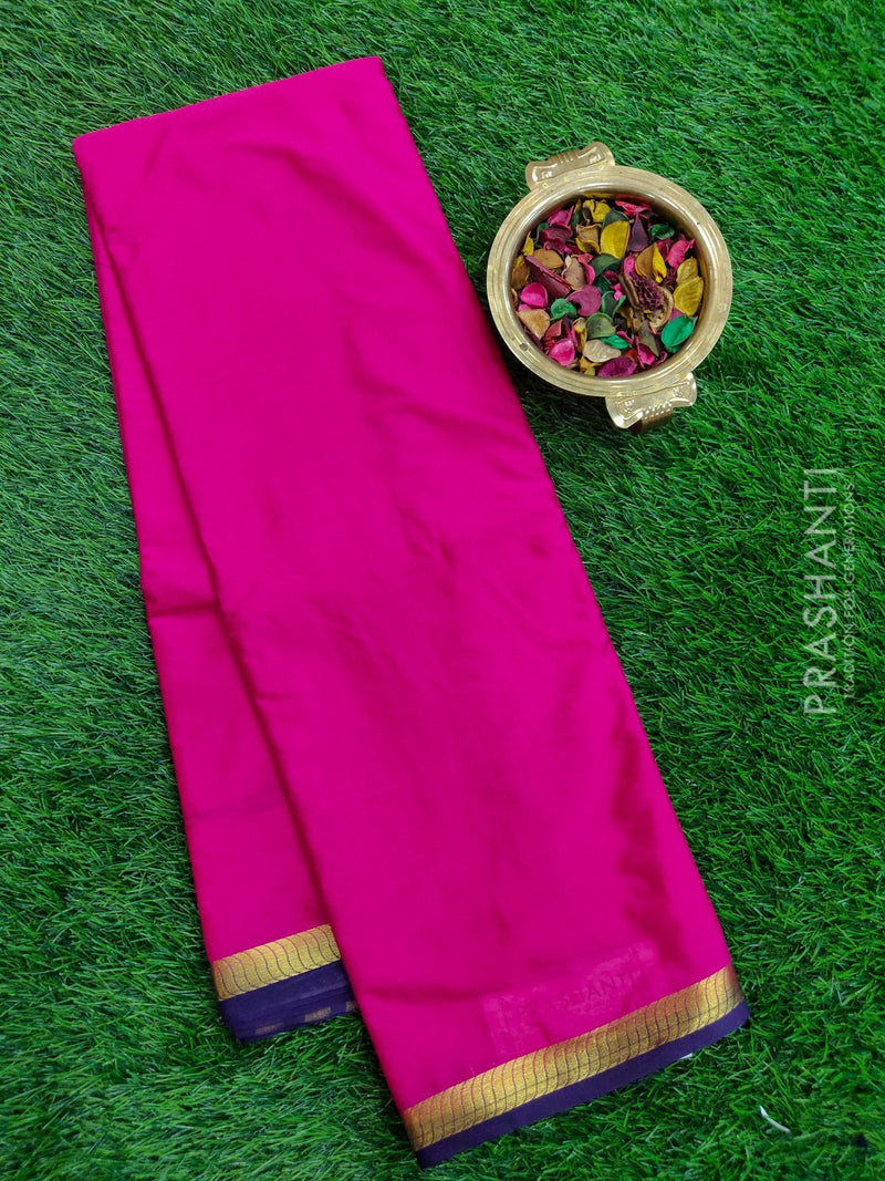 Semi Crepe saree pink and violet with plain body and golden zari border