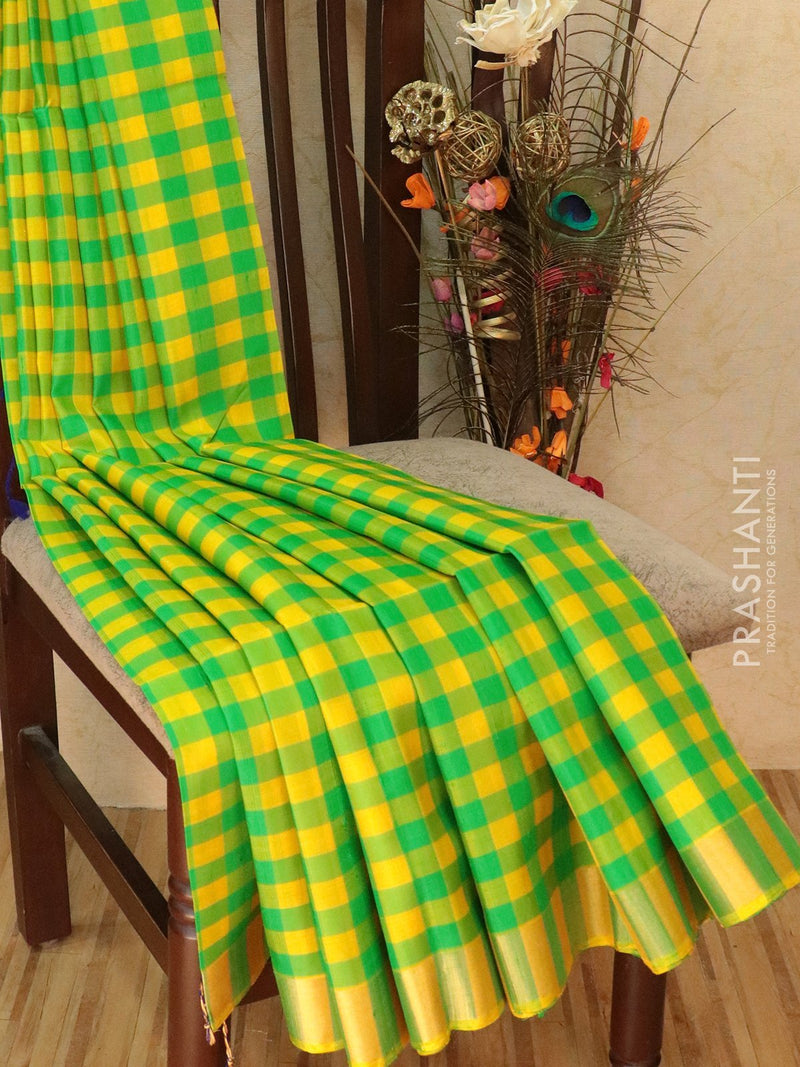 Pure Soft Silk Saree yellow and green with checked pattern in jute finish