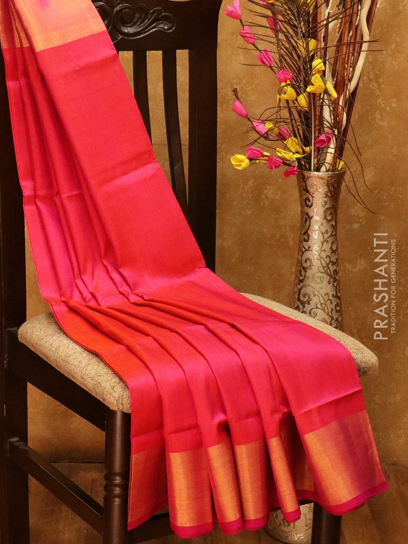 Pure Uppada silk saree dual shade of pink with kaddi zari border