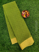 Semi Chiffon Saree green with all over prints