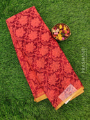 Semi Chiffon Saree peach and maroon with all over prints