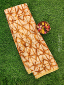 Semi Chiffon Saree sandal and brown with all over prints