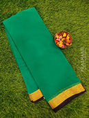 Semi Chiffon Saree green and navy blue with zari border