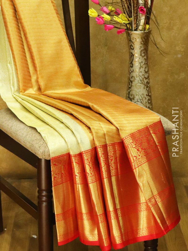 Pure Kanjivaram silk saree golden tissue and red with rich traditional zari border
