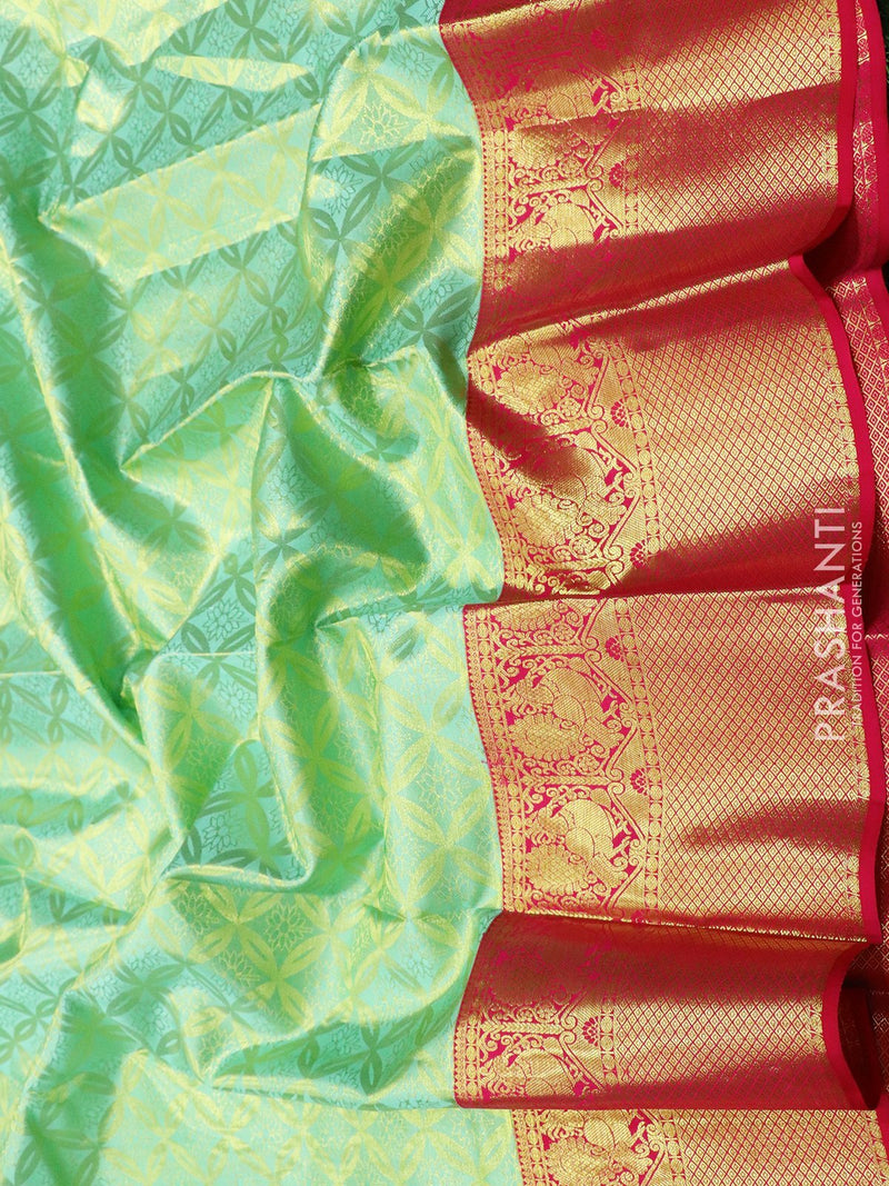 Pure Kanjivaram silk saree pastel blue and pink korvai brocade jari pattern with rich traditional zari border