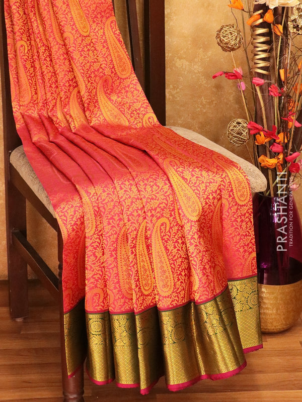 Pure Kanjivaram silk saree pink green and purple korvai all over zari brocade with rich traditional zari border