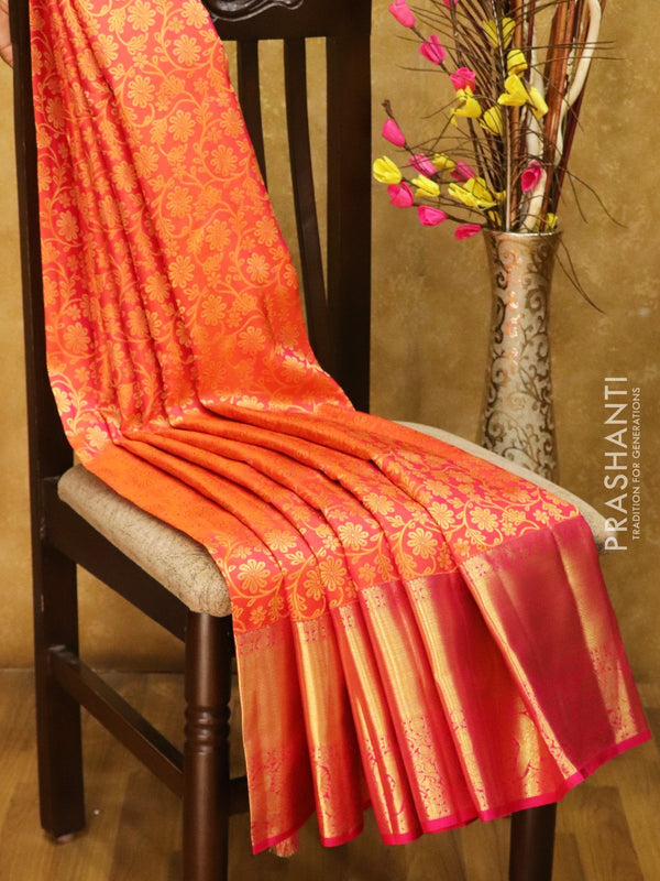 Pure Kanjivaram silk saree peachish pink and magenta all over zari brocade with rich traditional zari border