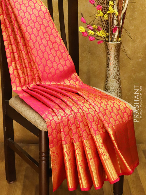 Pure Kanjivaram silk saree pink all over paisley zari buttas with rich traditional zari border