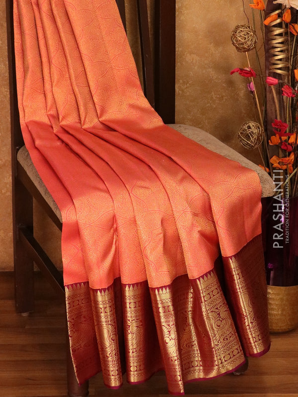 Pure Kanjivaram silk saree peach and deep purple all over zari brocade weaving with rich traditional zari border
