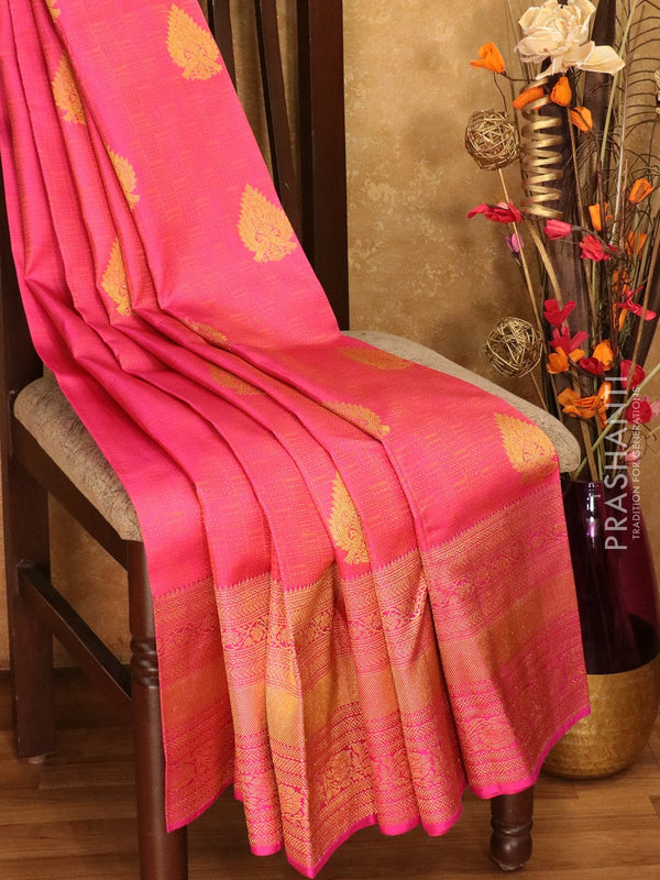 Pure Kanjivaram silk saree pink self emboss and zari buttas with rich traditional zari border