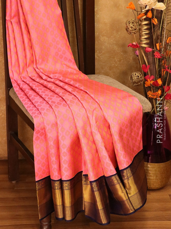 Pure Kanjivaram silk saree rose and navy blue all over zari buttas with rich traditional zari border
