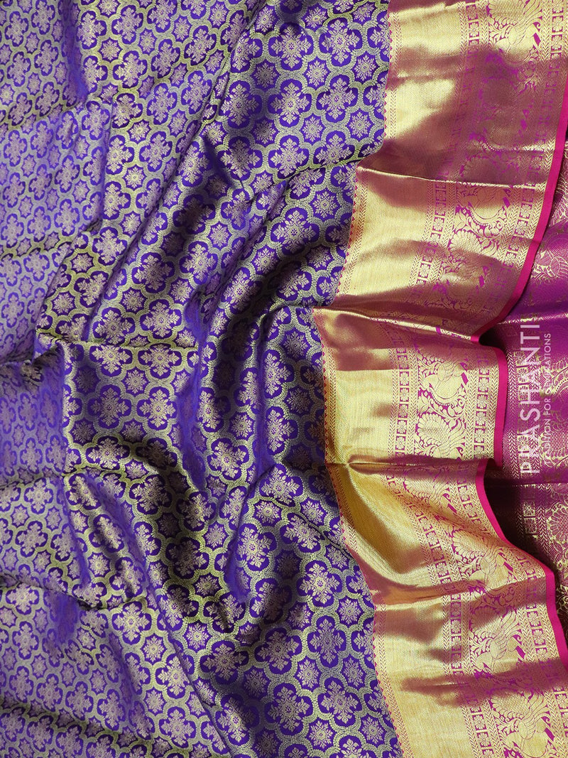Pure Kanjivaram silk saree violet and purple all over paisley and floral zari weaving with rich traditional zari border