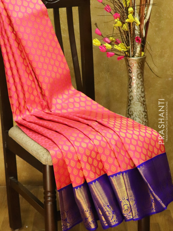 Pure Kanjivaram silk saree onion pink and wviolet korvai all over zari buttas with rich traditional zari border