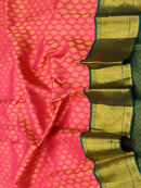 Pure Kanjivaram silk saree pink and green all over zari buttas korvai weaving with rich traditional zari border