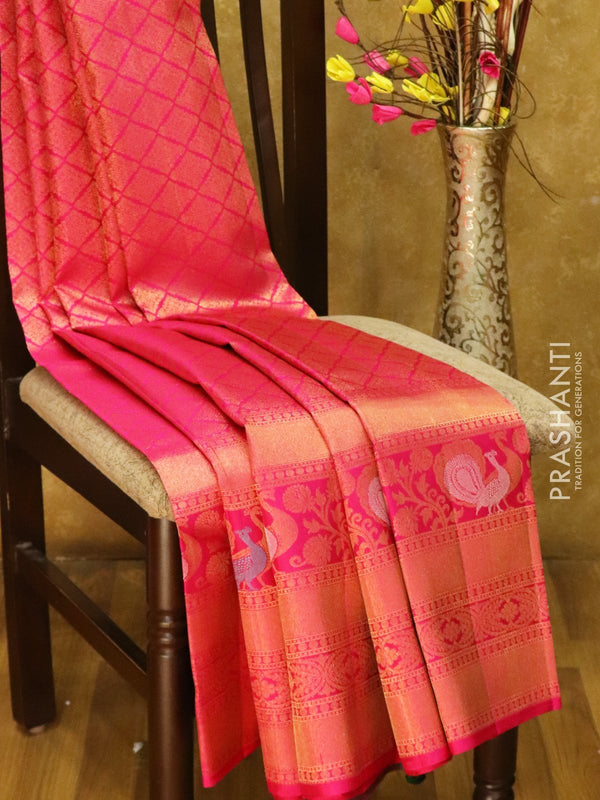 Pure Kanjivaram silk saree pink all over antique zari brocade weaving with rich traditional zari border