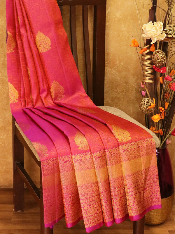 Pure Kanjivaram silk saree magenta with self emboss zari buttas with rich traditional zari border