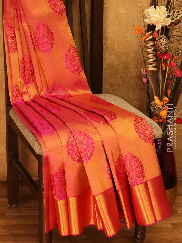 Pure Kanjivaram silk saree pink tissue floral buttas with rich traditional zari border