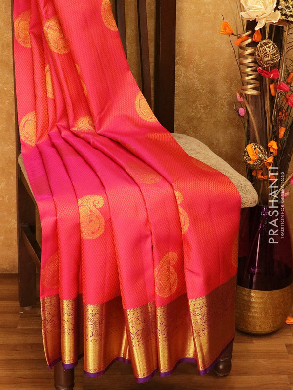 Pure Kanjivaram silk saree pink and blue self emboss zari buttas with rich traditional zari border