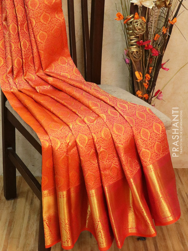 Pure Kanjivaram silk saree peachish pink rich all over zari brocade with rich traditional zari border